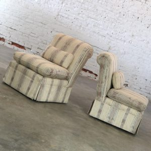 Striped Slipper Roll Back Chairs with a Vintage Pair