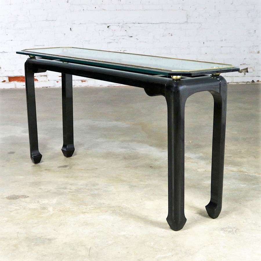 James mont style sofa console table in black lacquer with for 10 inch depth console table