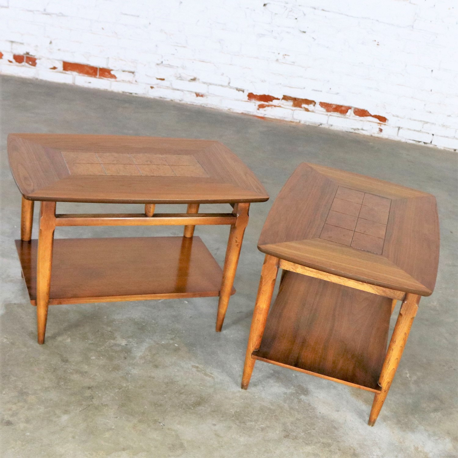 Lane Walnut End or Side Tables with Inlaid Tops Mid Century Modern Pair #1925