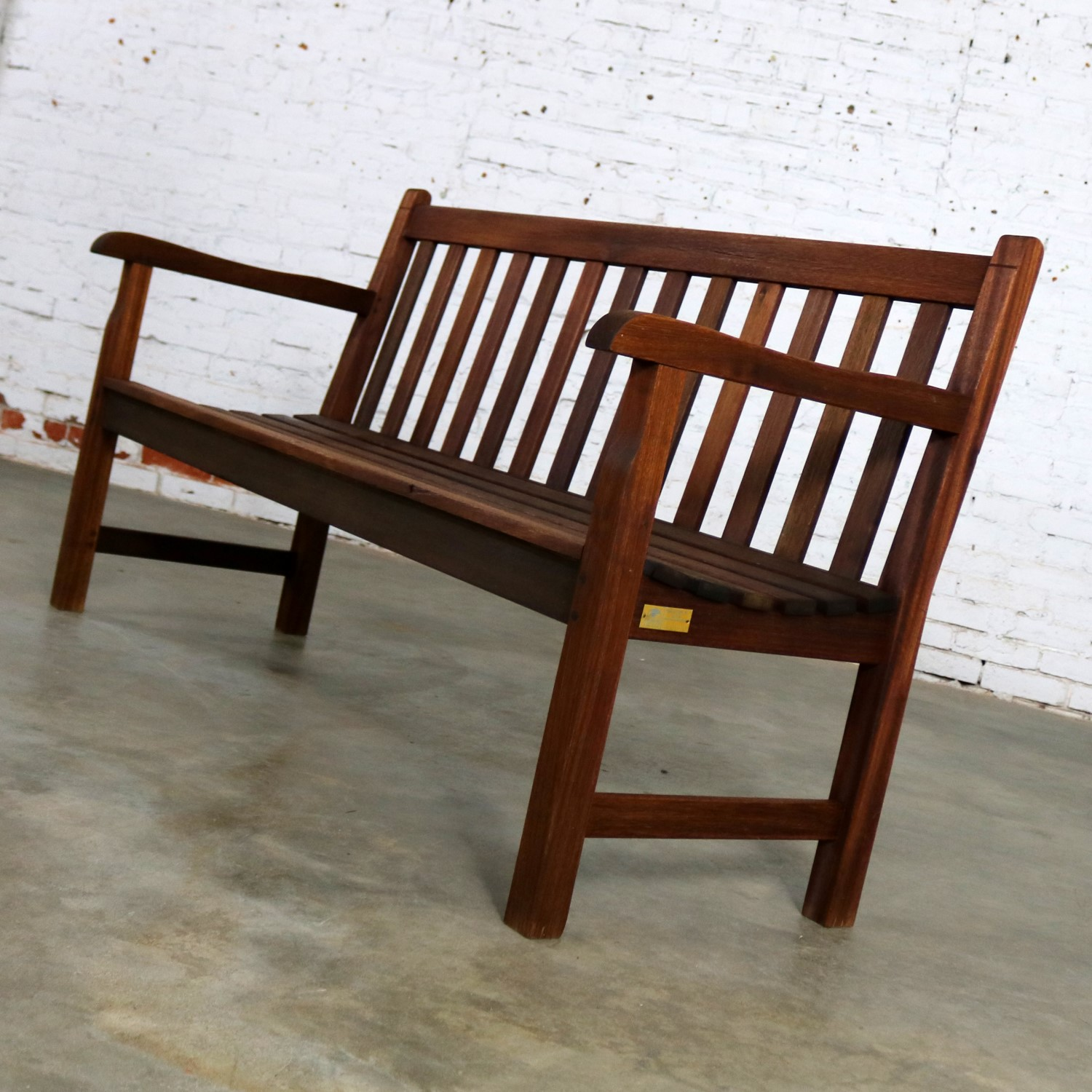 Vintage Windsor Natural Teak Outdoor Three Seat Bench