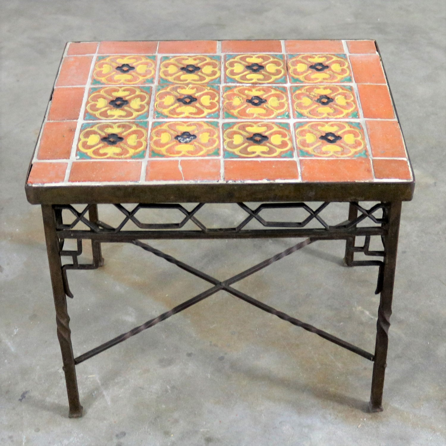 Superieur Art Deco Wrought Iron And Tile Side Table California Style Tiles