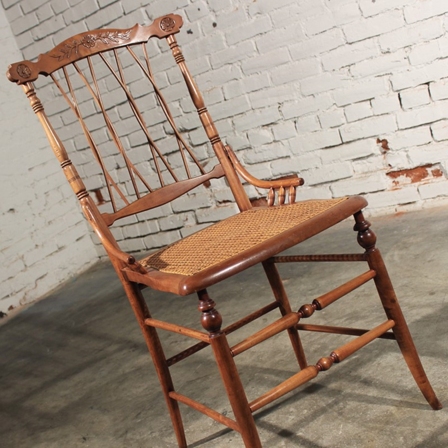 antique cane seat chairs Delicate Antique Side Chair Carved with Cane Seat – warehouse414 antique cane seat chairs