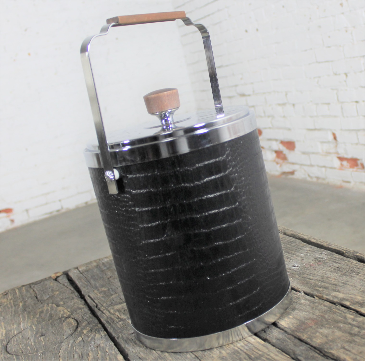 Black Faux Alligator or Crocodile Ice Bucket by Kromex Vintage Mid Century Modern