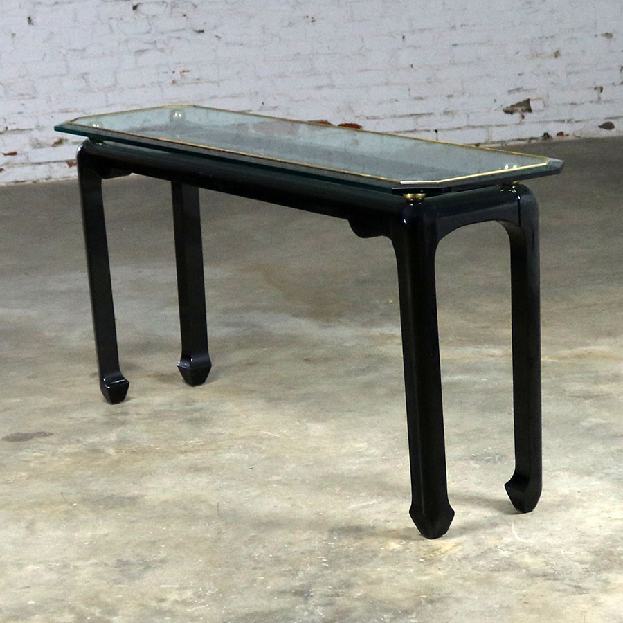 Mont Style Sofa Console Table In Black Lacquer With Brass Trim And  ~ Sofa Table With Glass Top