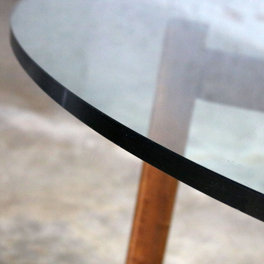 Modernist X-Base Dining Room Table with Round Glass Top -