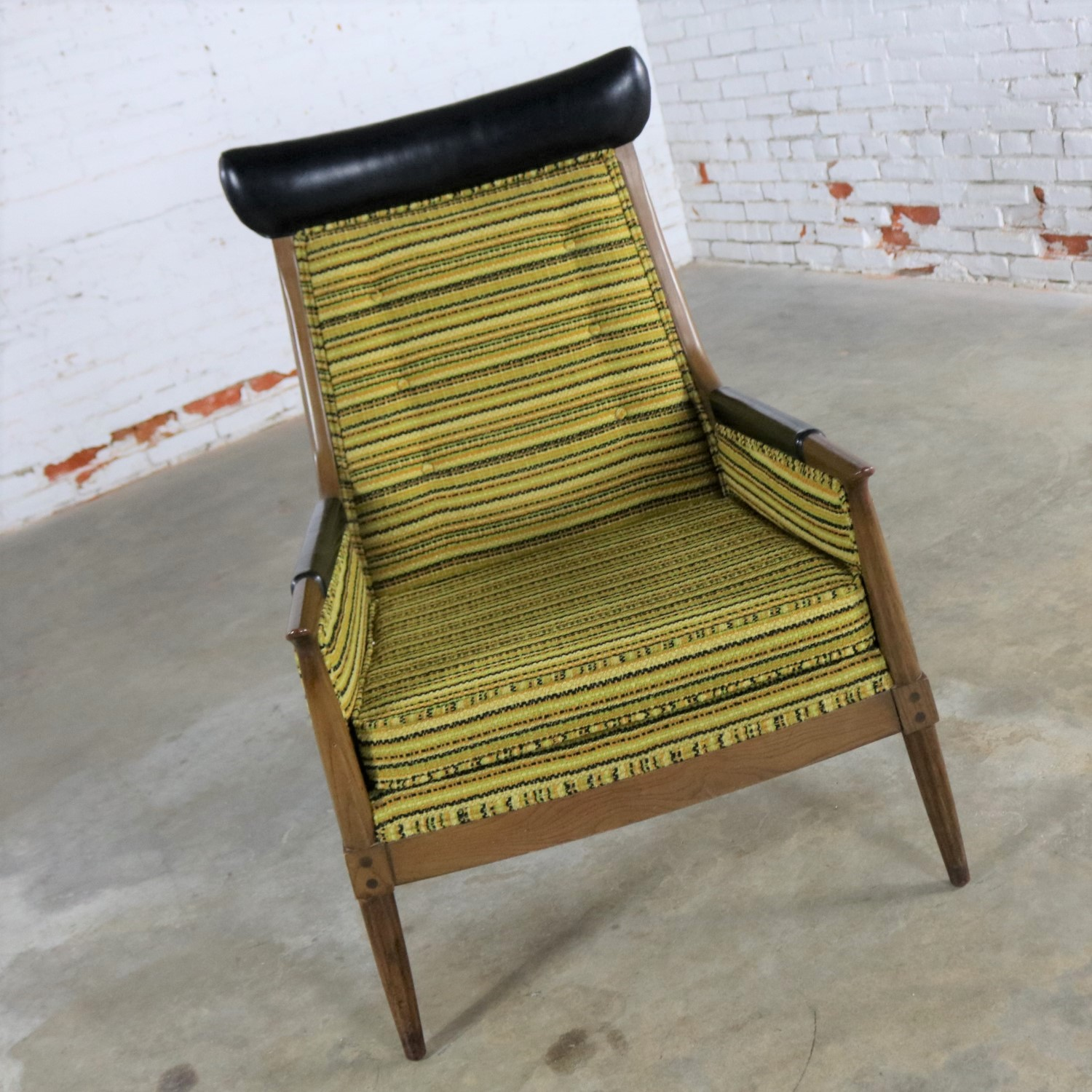 Mid Century Modern Arm Chair With Green Gold And Black Horizontal Striped  Upholstery