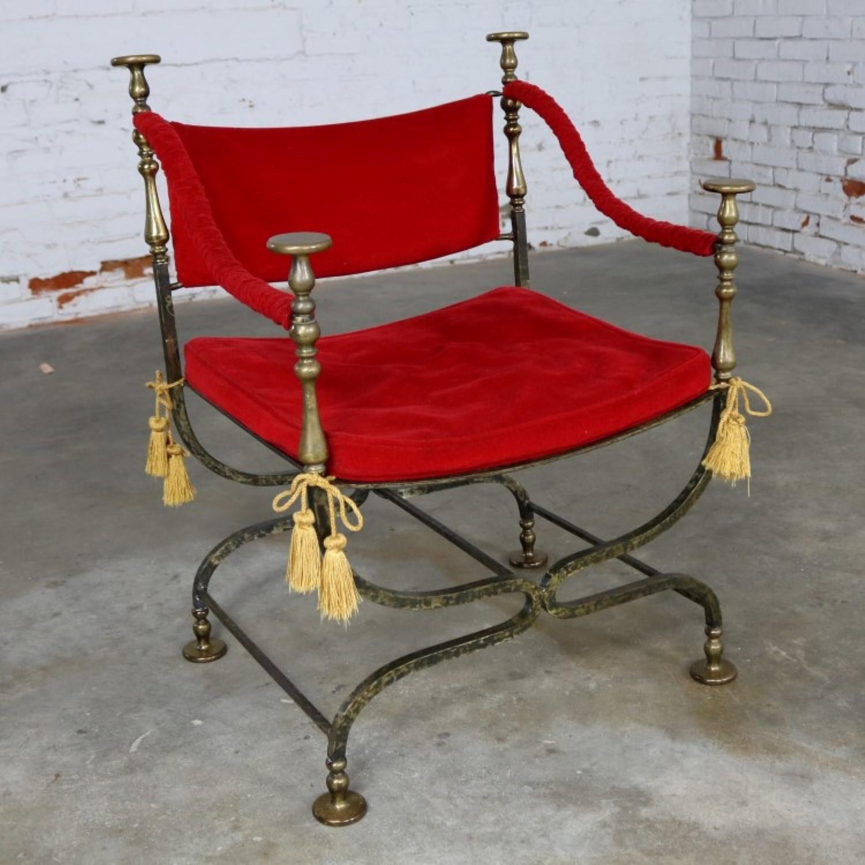 Wrought Iron and Brass Curule Savonarola Chair Mid 20th Century & Wrought Iron and Brass Curule Savonarola Chair Mid 20th Century -