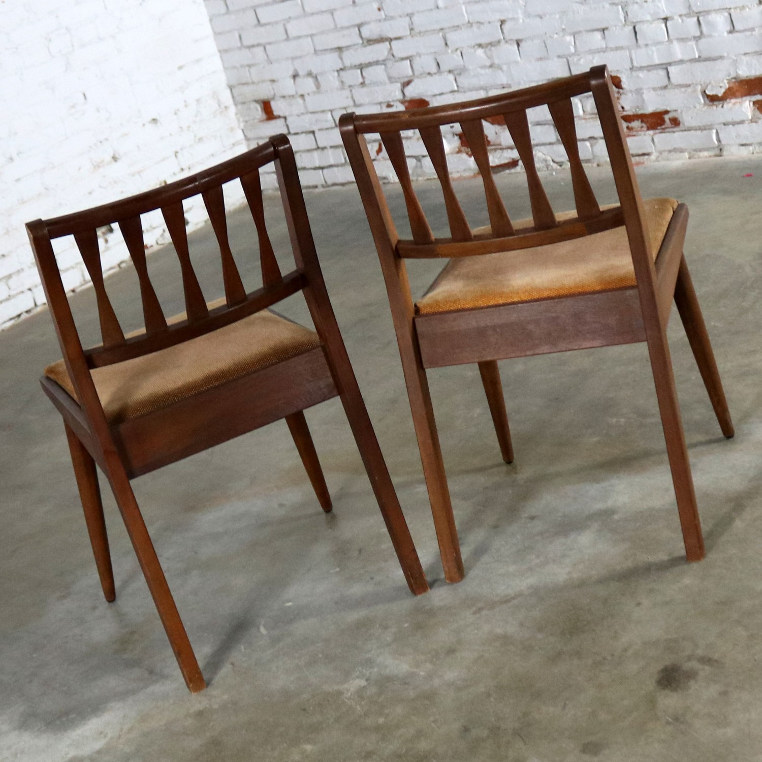 MCM Pair Walnut Dining Side Chairs by Holman Manufacturing Co.