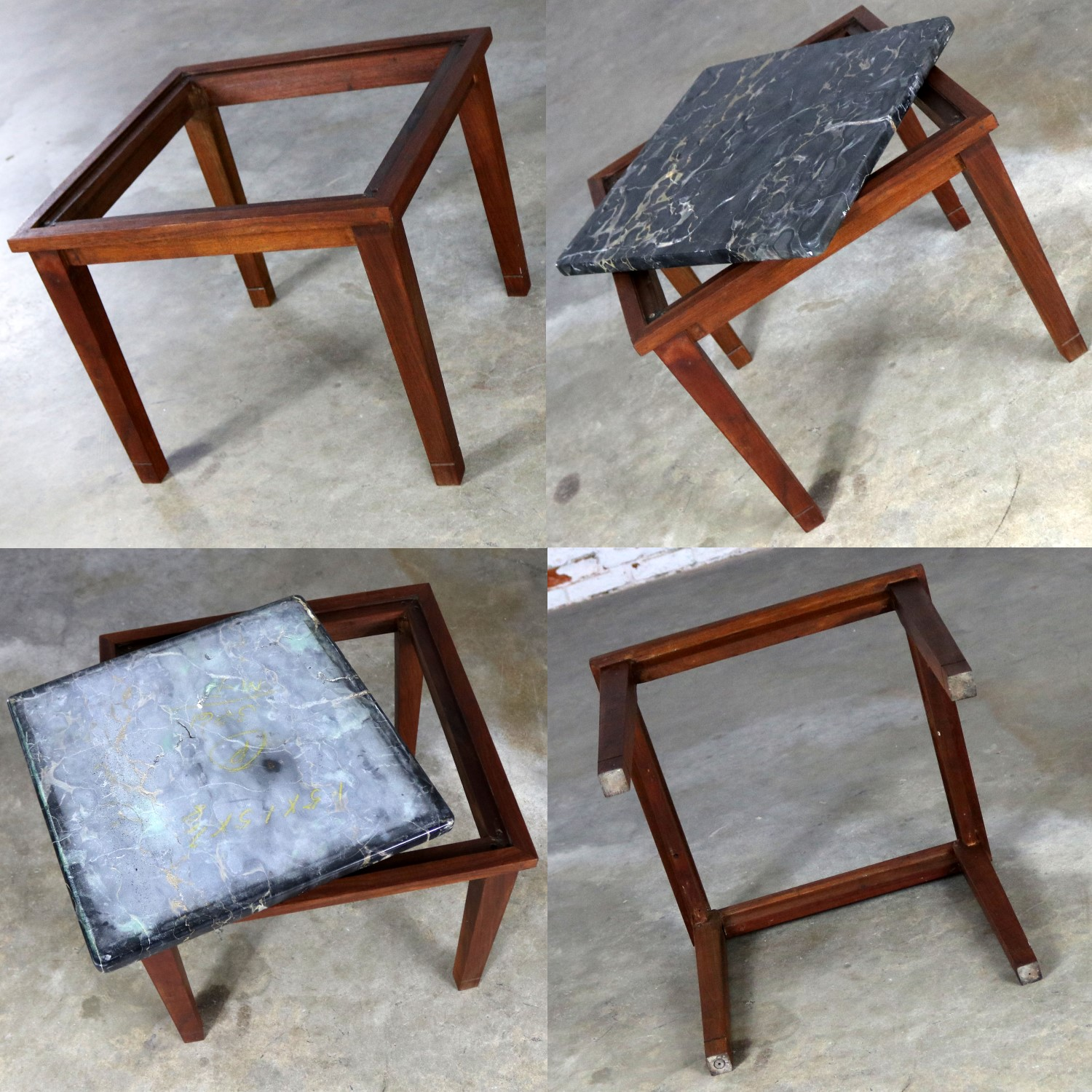 Very Mid Century Modern Walnut and Black Marble Square End or Side Table OR53