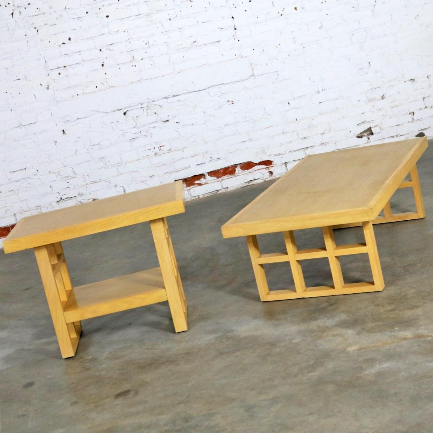 Mid Century Modern Blonde Oak Window Pane End Table And Coffee Table - Mid century modern picnic table