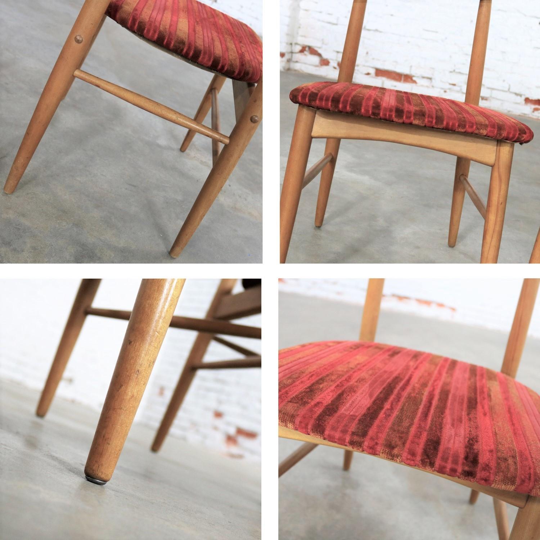 Elegant Pair Mid Century Modern Birchcraft Danish Style Side Chairs By Baumritter
