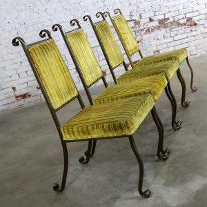 Four Hollywood Regency Wrought Iron Dining Chairs by Swirl Craft of Sun Valley