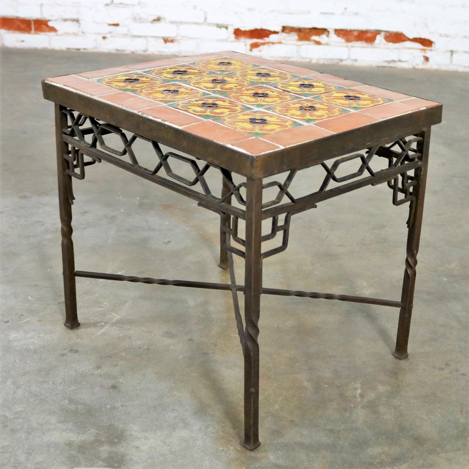 Delicieux Art Deco Wrought Iron And Tile Side Table California Style Tiles