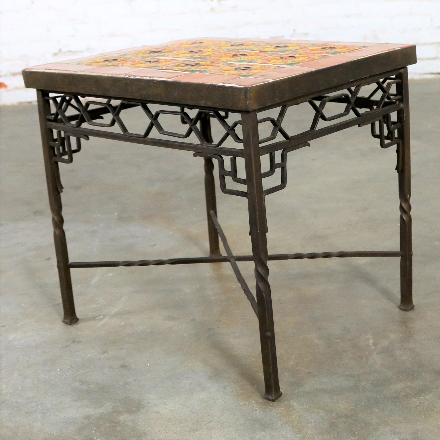 Beau Art Deco Wrought Iron And Tile Side Table California Style Tiles