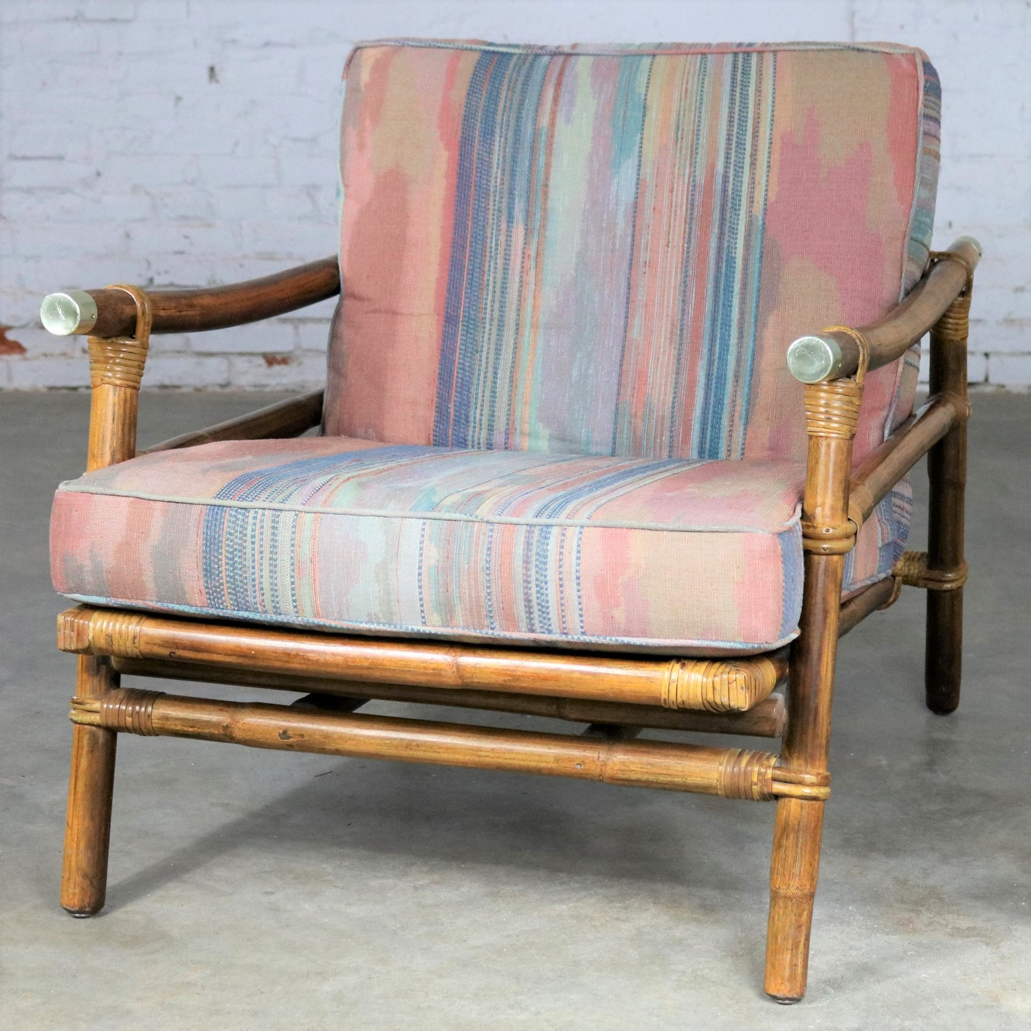 Vintage Ficks Reed Rattan Lounge Club Chair With Brass Accents By John  Wisner Campaign Style With Rattan Lounge