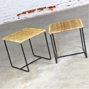 CalAsia Style Wrought Iron and Rattan Side Tables Mid Century Modern, a Pair