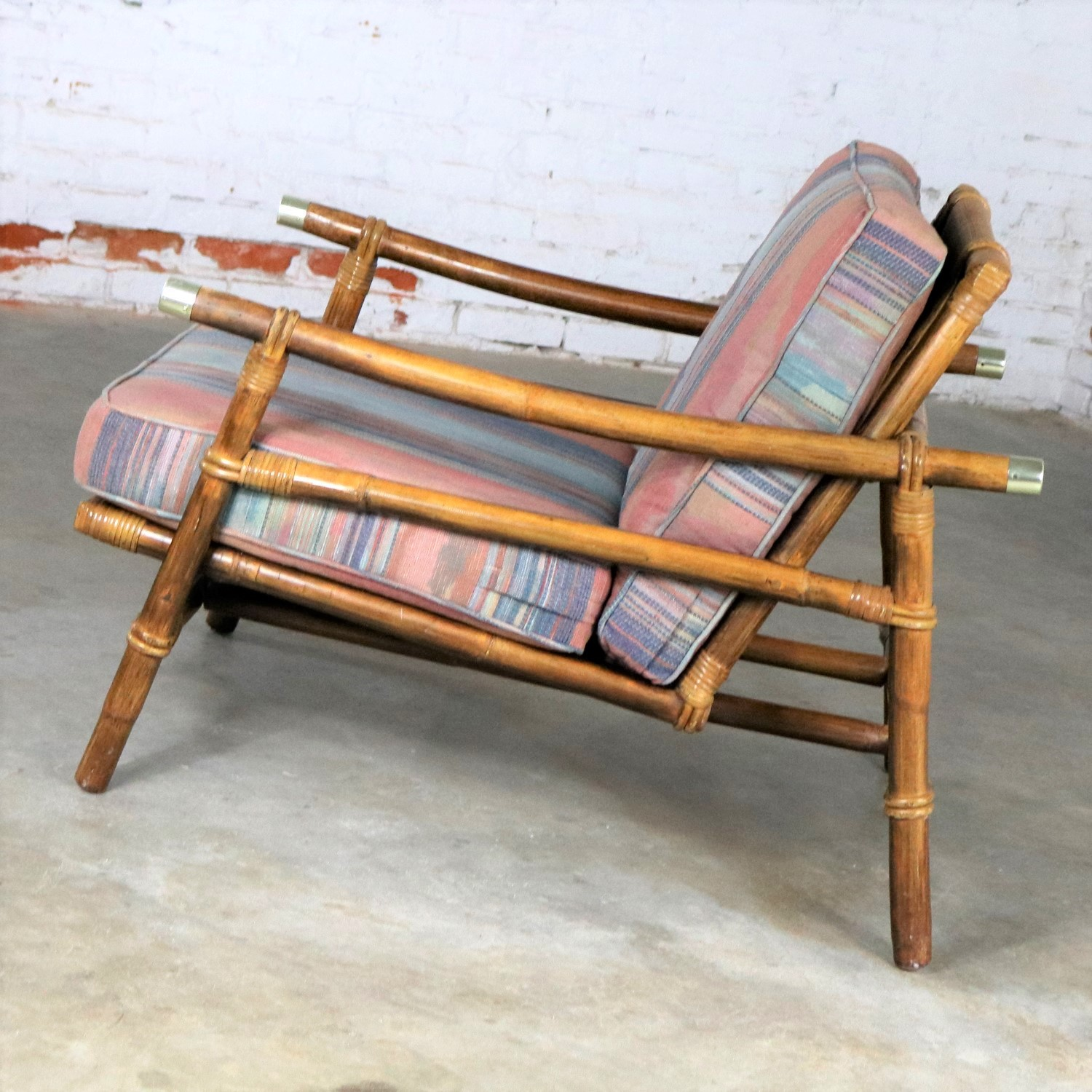 Vintage Ficks Reed Rattan Lounge Club Chair With Brass Accents By John  Wisner Campaign Style.