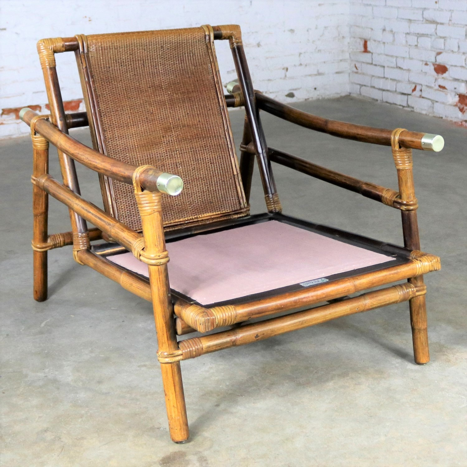 Merveilleux Vintage Ficks Reed Rattan Lounge Club Chair With Brass Accents By John  Wisner Campaign Style