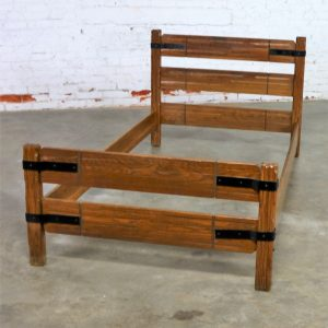 Four Ranch Oak Western Cowboy Twin Beds with Strap Details Attributed to A. Brandt Company