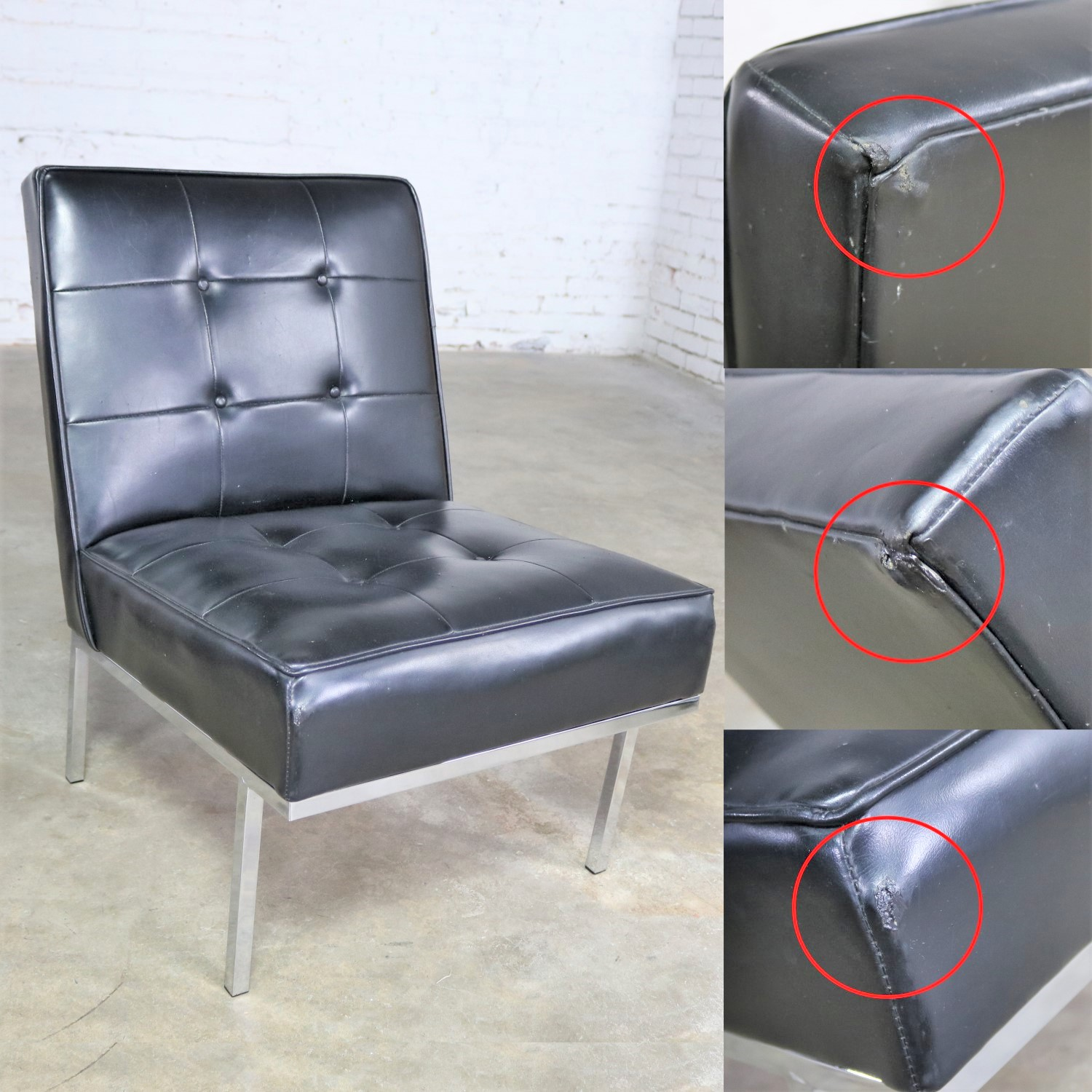 Paoli Chair Co. Black Naugahyde And Chrome MCM Slipper Chairs Style Of  Florence Knoll A
