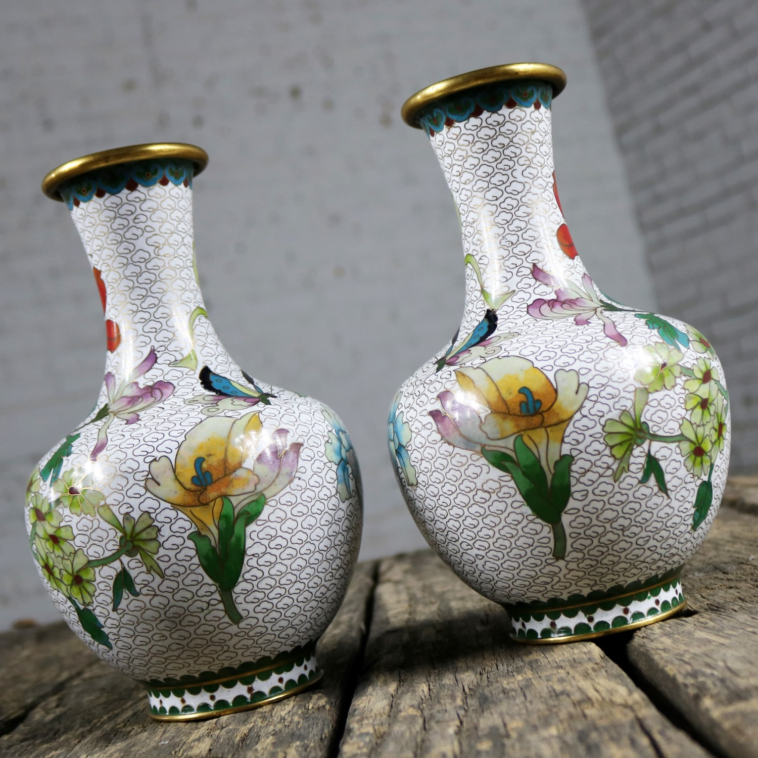 Pair Of Mirrored Design White Cloisonn Vases With Multi Colored