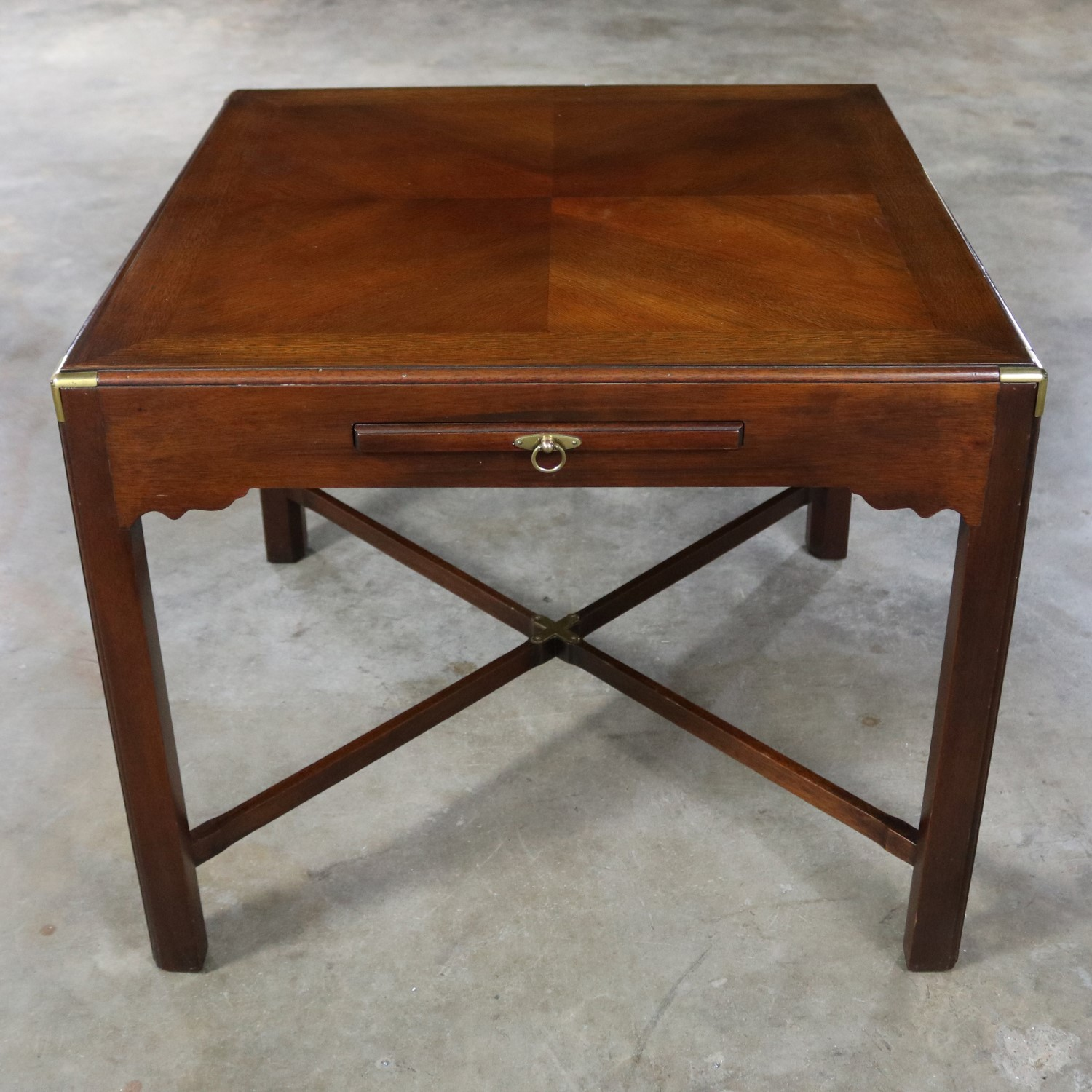 Campaign Style Square Side Or End Table With Pull Out Shelf And Brass  Accents