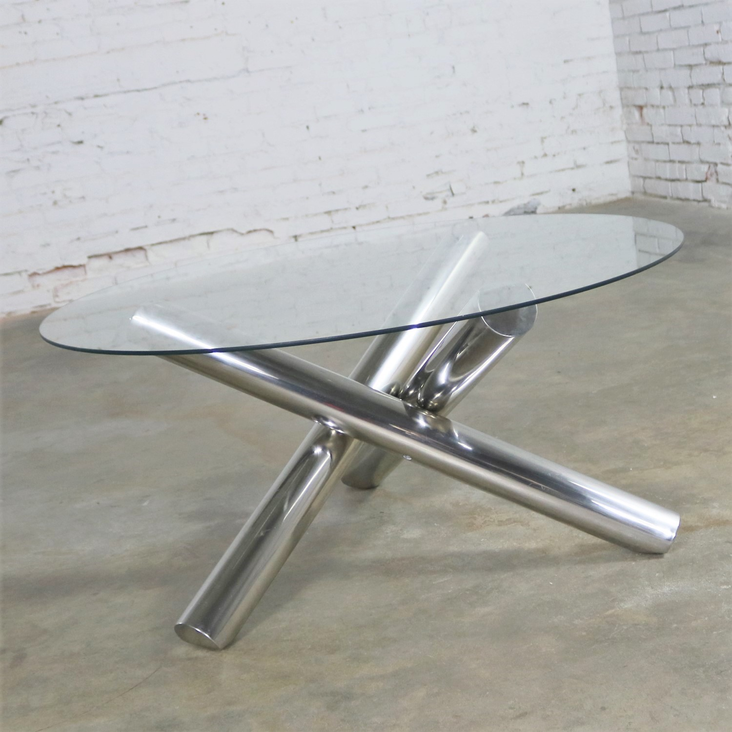Tubular Stainless Steel Jacks Tripod Coffee Table Round Glass Top Style Of  Milo Baughman