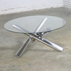 Tubular Stainless-Steel Jacks Tripod Coffee Table Round Glass Top Style of Milo Baughman