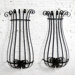 Architectural Antique Window Guards or Wall Urn Planters Hand Wrought Iron