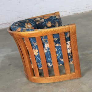 Oak Slatted Back Upholstered Barrel Lounge Chair 1970s