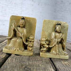 Antique Carved Soapstone Bookends with Chinese Figures and Tea